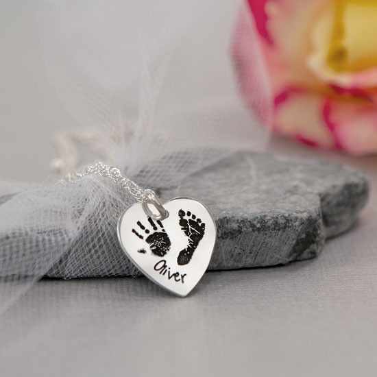 Custom handprint and footprint on sterling silver necklace