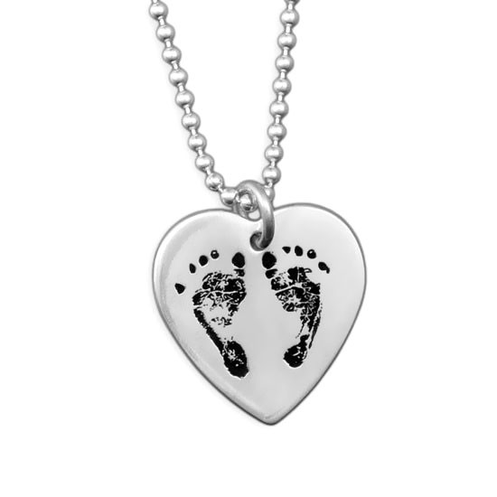 Your Baby's Footprints on Heart Necklace