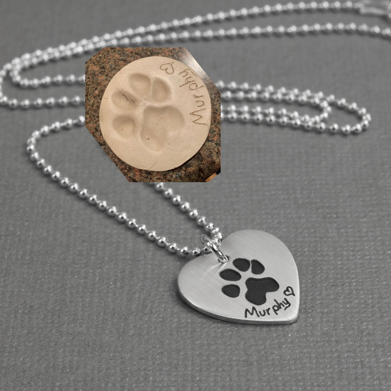Your Pet's Paw Print on Heart Necklace, shown with original print