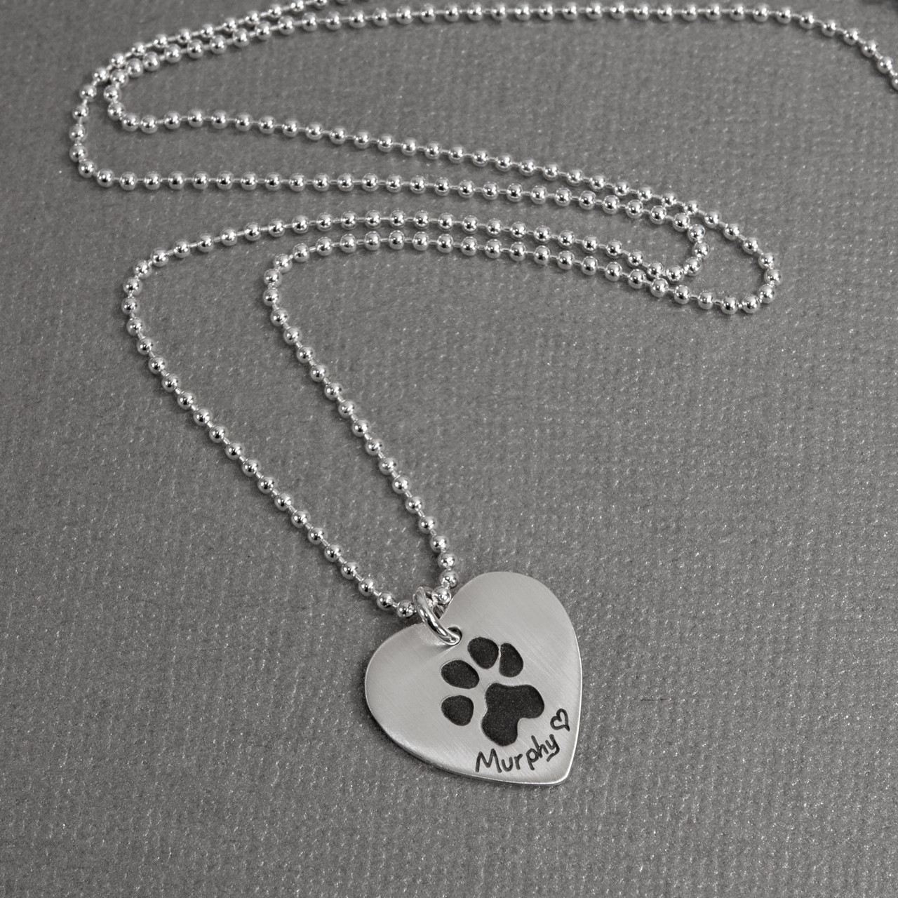 Your Pet's Paw Print on Heart Necklace