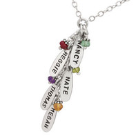 Sterling Silver Cascade Necklace with birthstones, shown close up on white background
