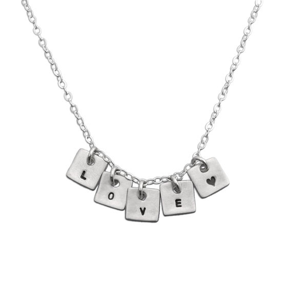 Tiny square initial necklace sterling silver