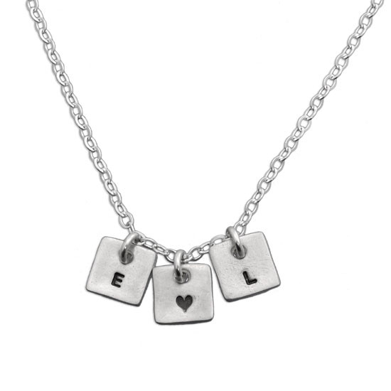 Initials with tiny heart necklace