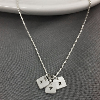 Tiny Square Initials Necklace