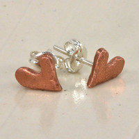 "Handcrafted ""Loved"" copper heart earrings"