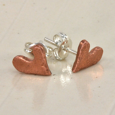 "Handcrafted ""Loved"" copper heart earrings"
