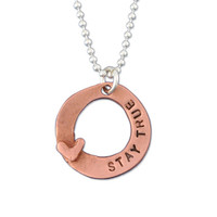 Hand Stamped Loved Copper Circle Necklace, close up