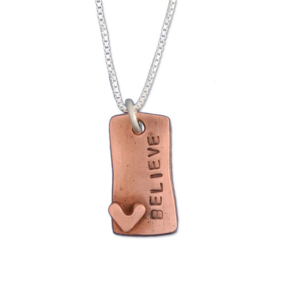 Hand Stamped Loved Copper Rectangle Necklace, close up