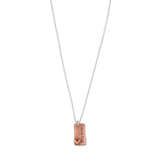 Hand Stamped Loved Copper Rectangle Necklace, on white