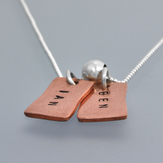 Hand stamped necklace side