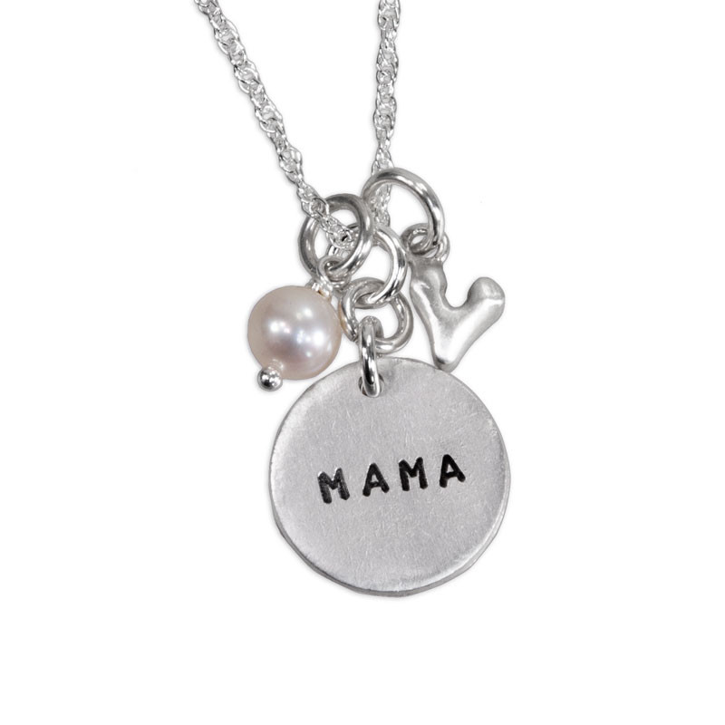Custom hand stamped fine silver Mama Necklace, shown on white, with pearl and silver heart