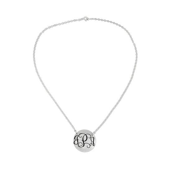 Silver monogram necklace, shown on white