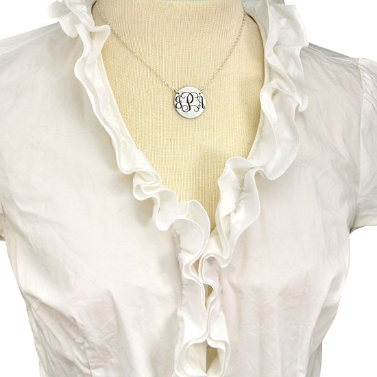 Silver monogram necklace, shown on model