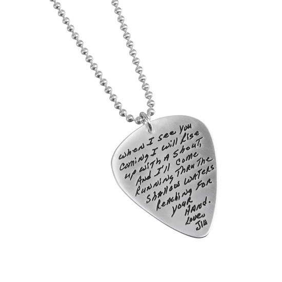 Handwriting signature guitar pick as a necklace