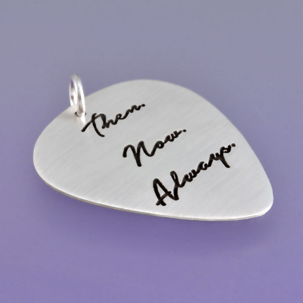 Silver guitar pick with your handwriting