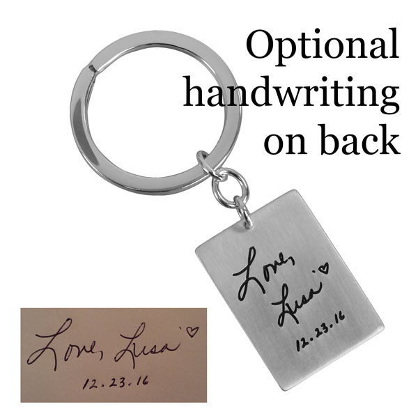 Silhouette on a silver Key Ring, with optional handwritten message on the back