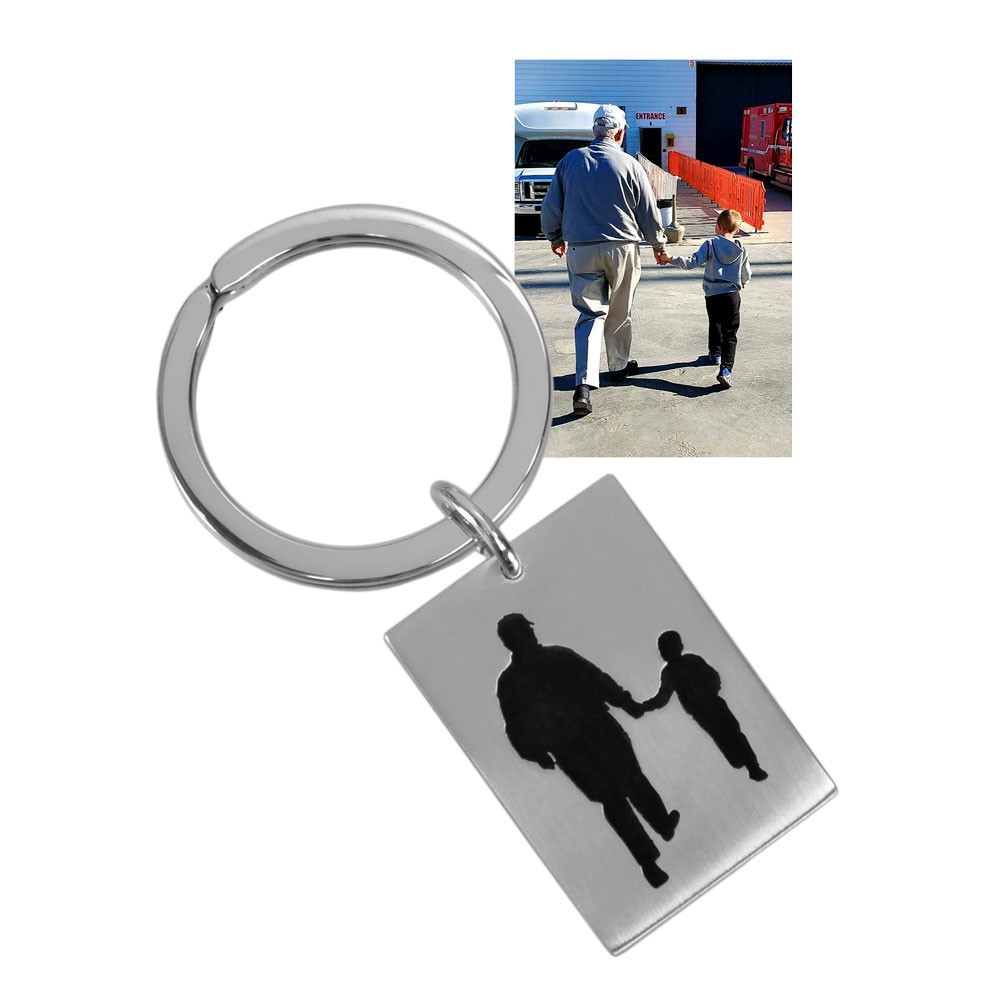 Photo Silhouette of grandfather & grandson on a silver Key Ring