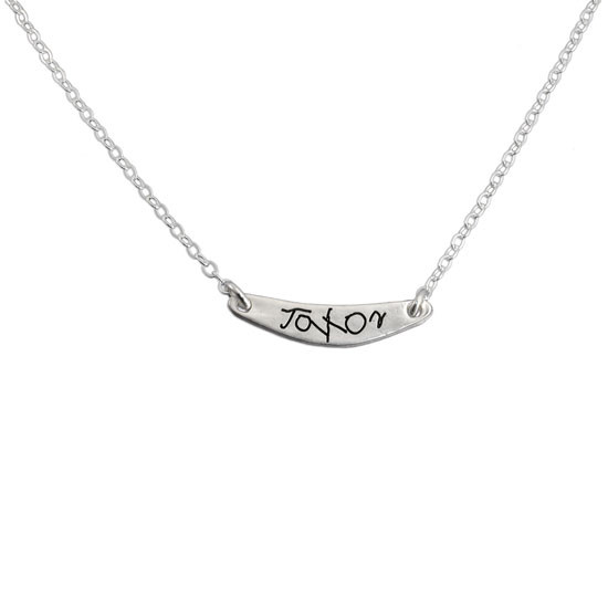 Silver custom personalized handwriting necklace