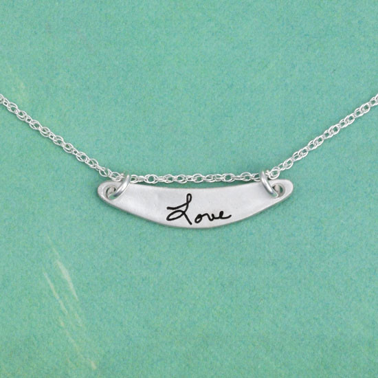 Silver handwriting love necklace