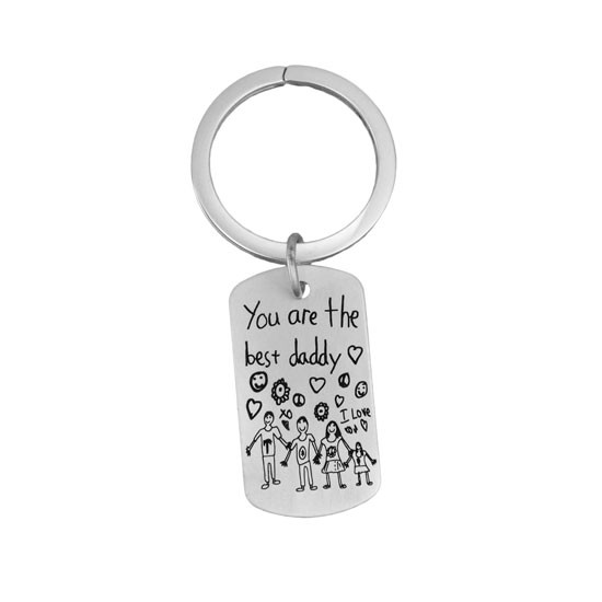 Handwriting Dog Tag on Key Ring