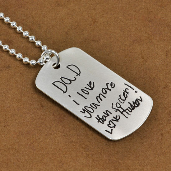 Handwriting Silver Dog Tag on Chain