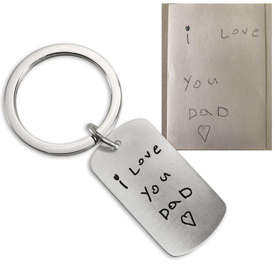 Note to Dad on a silver key ring