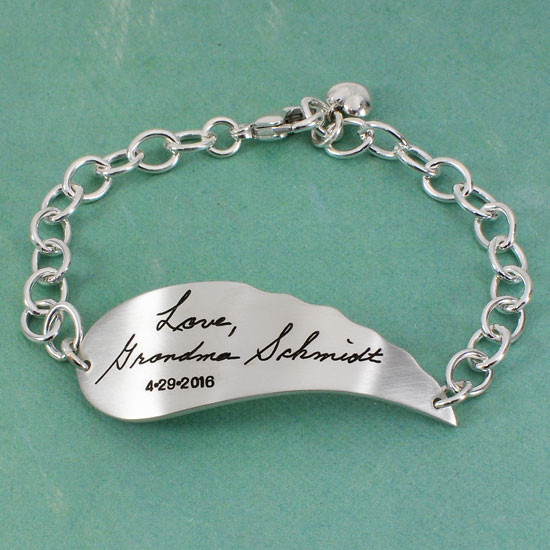 Written message on bracelet