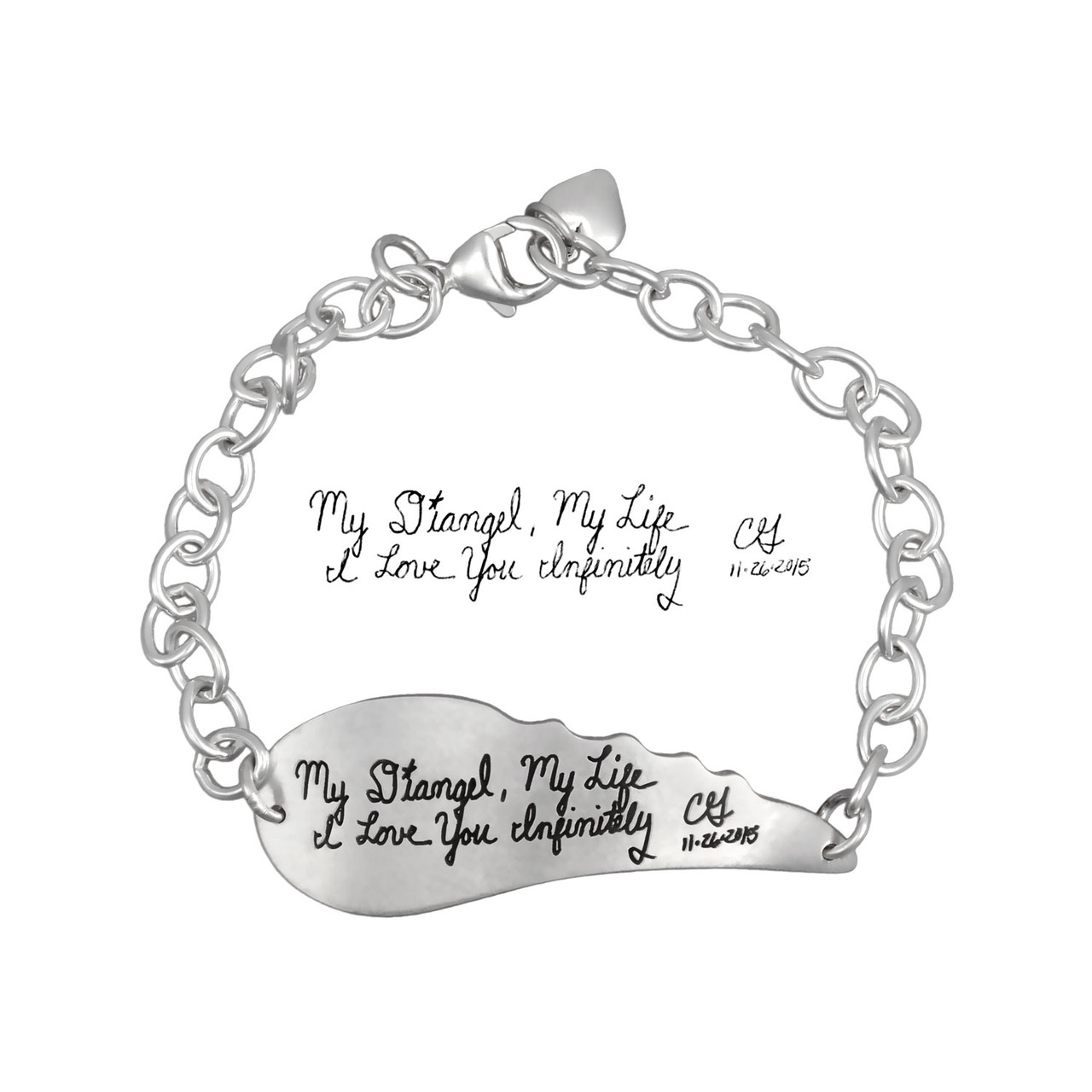 Signature Bracelet Custom Made with Handwriting From a Loved One,shown with original handwriting