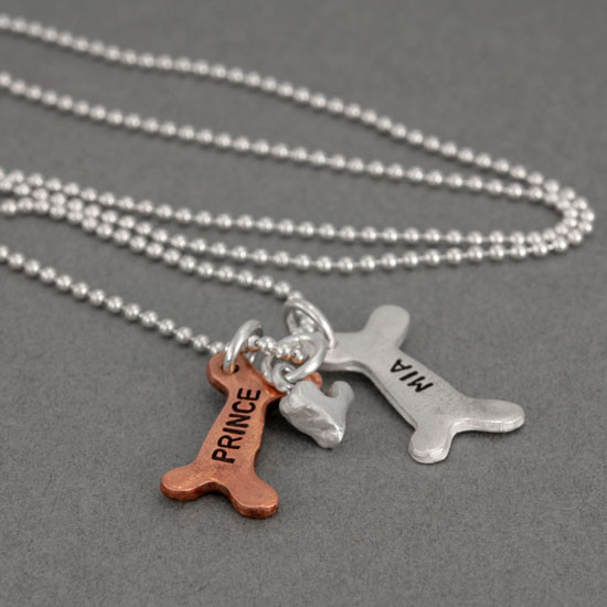 Dog Bone Necklace Hand Stamped