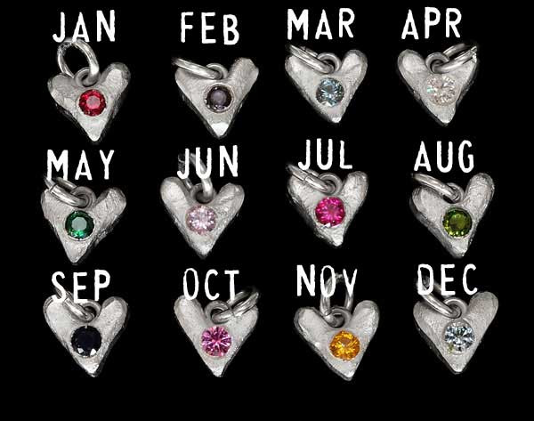 Sculpted Hearts Birthstone Charms in fine silver, showing all months