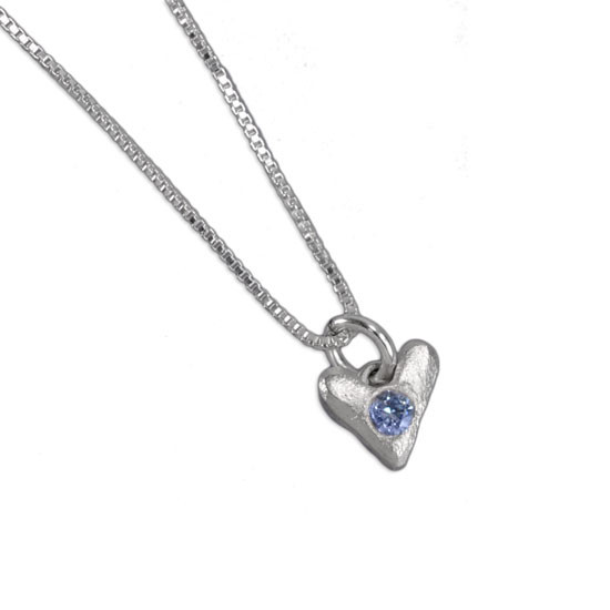 Sculpted Hearts Birthstone Charm in fine silver, showing charm on a sterling silver chain