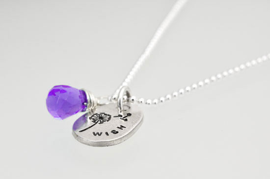 Fine silver wish necklace with birthstone with stamped dandelion, shown from the side