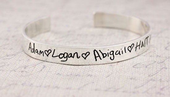 Actual Handwriting with hearts etched on a silver cuff