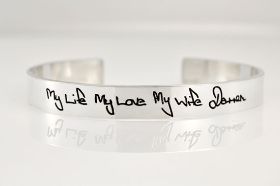 sterling silver memorial bracelet with handwriting