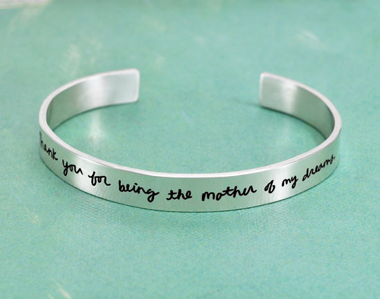 Mother's Day Gift handwritten jewelry, with a silver cuff and actual handwritten note etched into it
