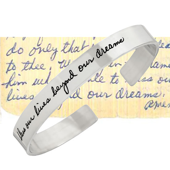 Sterling silver cuff bracelet engraved with actual handwriting, showing original handwriting sample used to create it