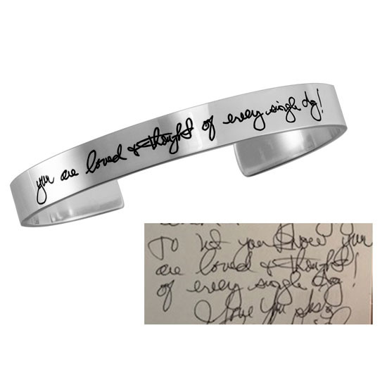 Custom handwritten note on a bracelet cuff