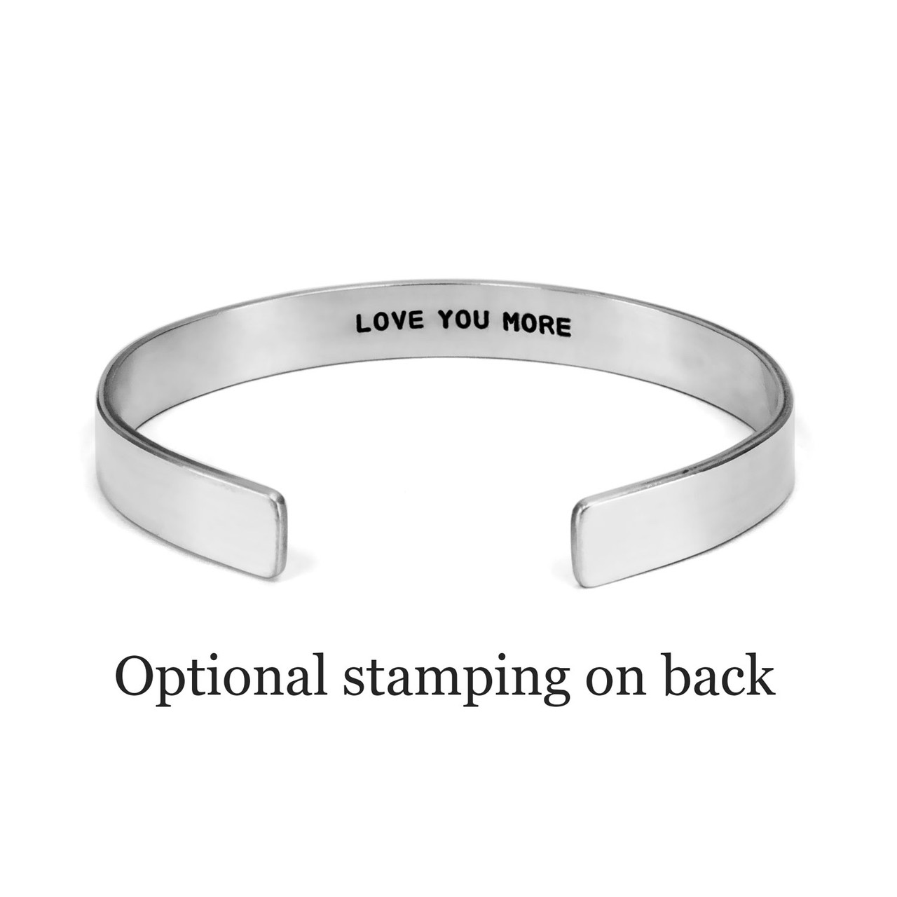 optional hand stamped message on inside of sterling silver cuff