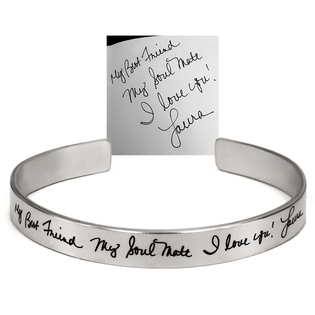 Custom handwritten note on a silver bracelet cuff. shown with original handwriting