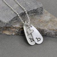 Handmade handstamped initial necklace