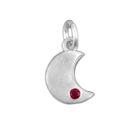 Moon with birthstone charm
