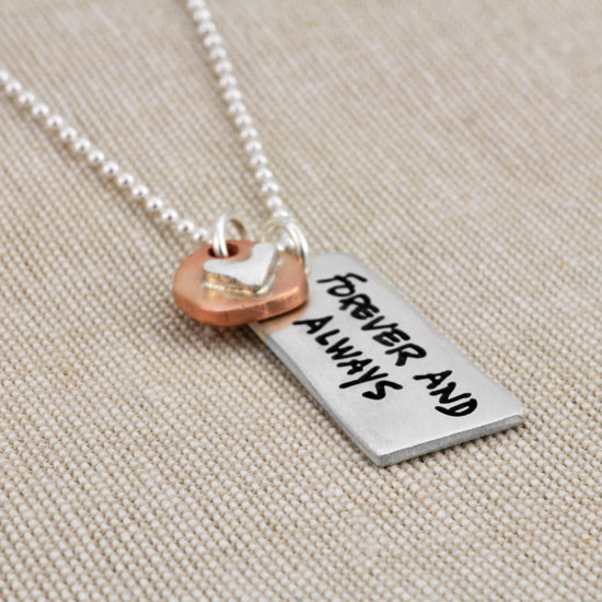 Handwriting necklace with heart charm