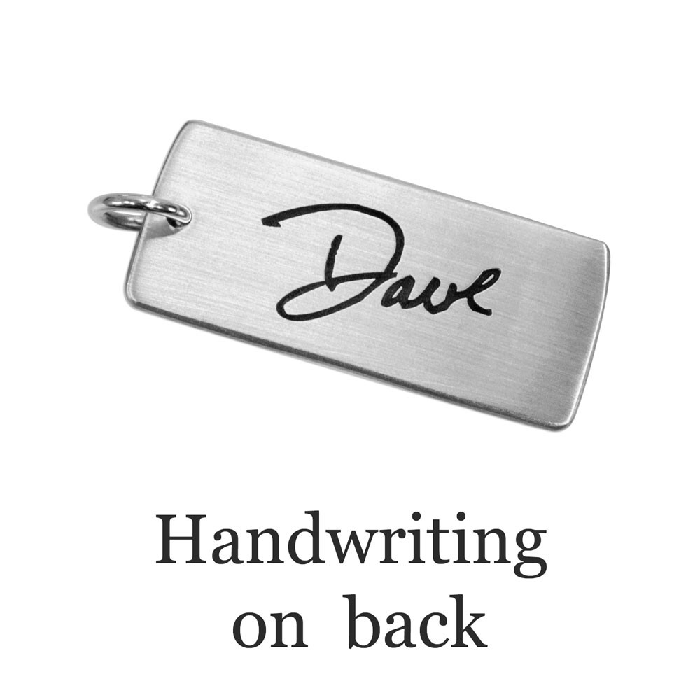 Handwriting necklace shows your handwriting on a charm