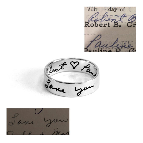 Memorial handwriting ring in sterling silver, shown with handwriting samples used to create it