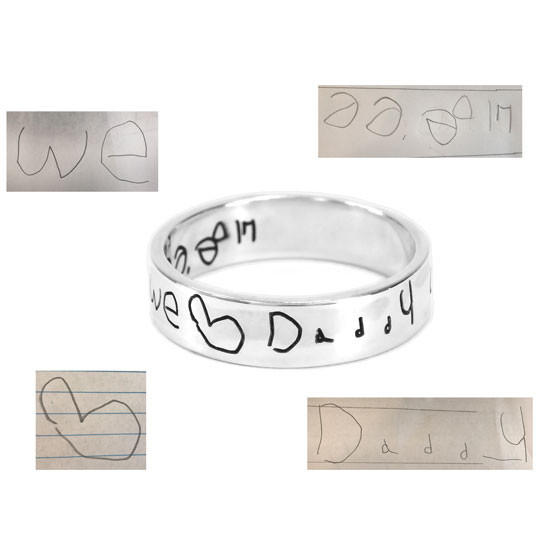Handwriting Ring in sterling silver, shown with handwriting sample used to create it