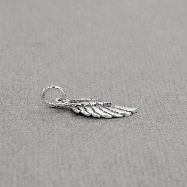 Silver Angel wing to add to your hand stamped or handwriting memorial necklace or bracelet, shown from the side