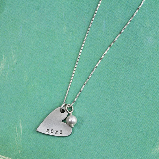 Hand stamped XO necklace