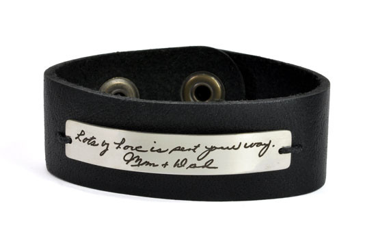 Signature handwriting leather bracelet