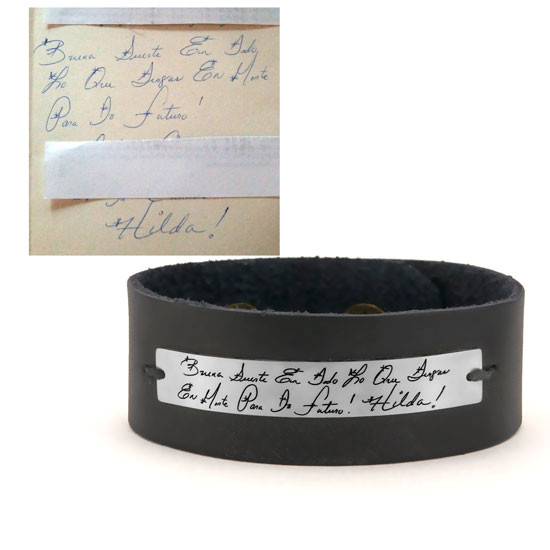 handwriting leather bracelet , shown with the actual handwriting etched on silver, with original handwritten note in Spanish