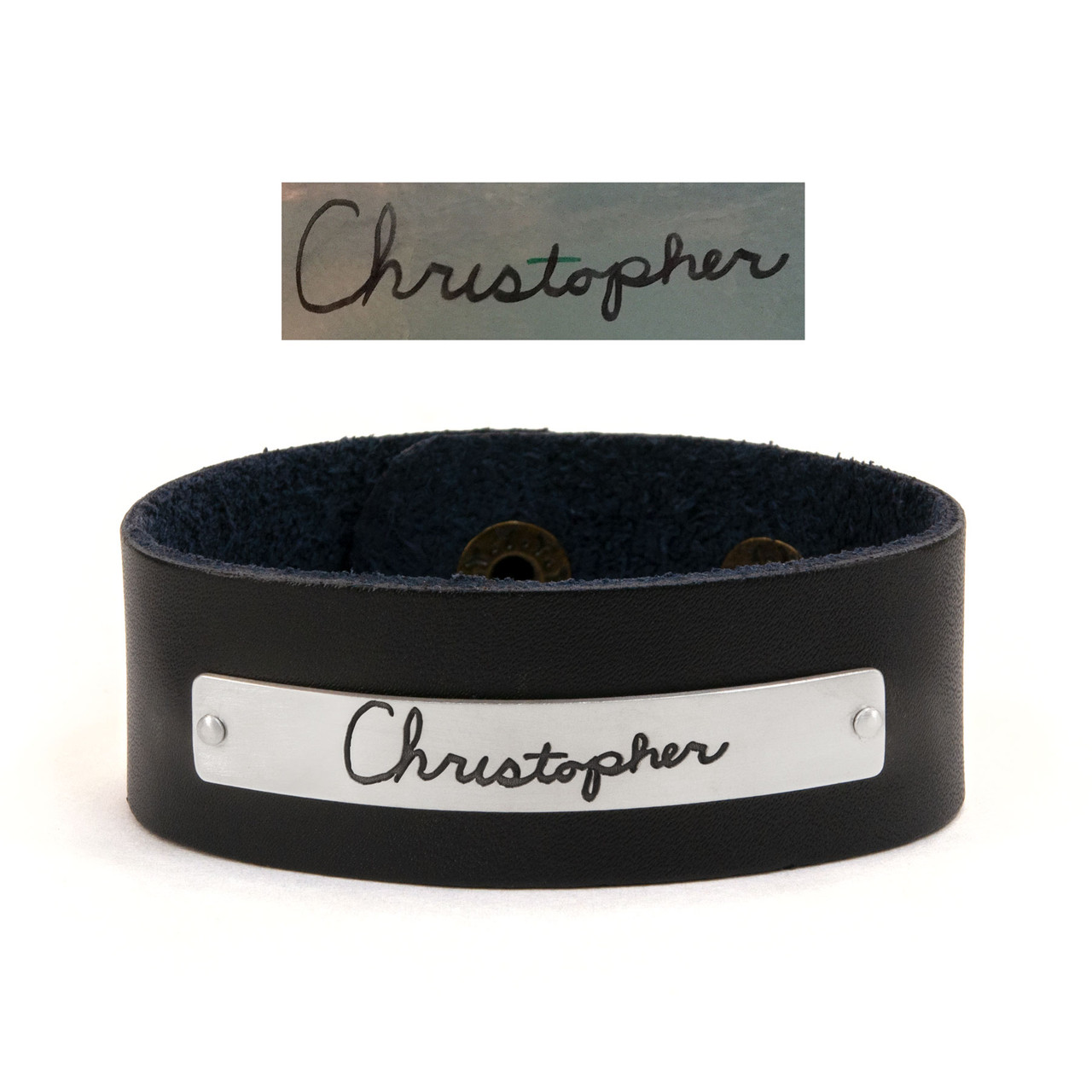 handwriting leather bracelet , shown with the actual handwriting etched on silver, with original handwritten note